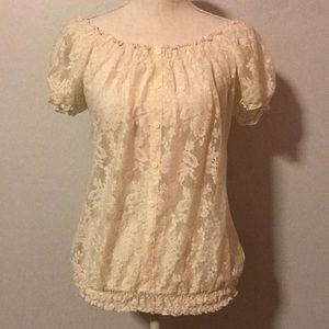 Maurices Sheer White Stretch Short Sleeve